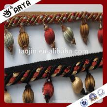 Franja de madera de stock, franja de cortina, franja de borla de cortina para la decoración de cortina