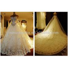 Gorgeous 2014 Crystal Lace Applique Chapel Train Vestido de noiva Weddng Vestido Vestido de noiva da igreja NB065