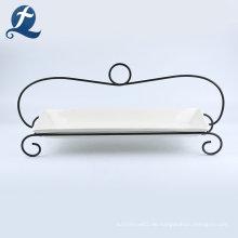 Großhandel weiße Keramikplatte mit Eisenhalterung