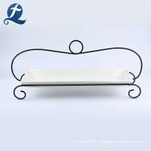 Wholesale White Ceramic Plate With Iron Bracket