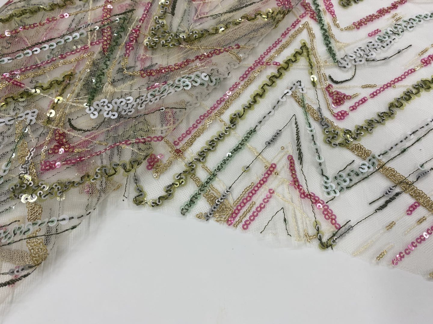 Fresh Transparent Sequins Embroidery On Poly Mesh