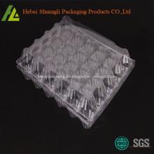 Bandeja de huevos de plástico transparente transparente de 30 hoyos para refrigerador