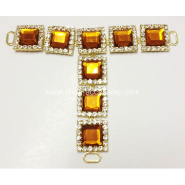 Classical Women Hot-Sell Diamante Trim T-Strap, Square Diamante Embellishment