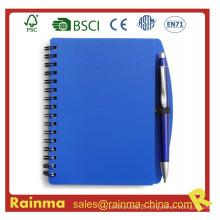 Caderno de capa de PVC azul para escola e material de escritório