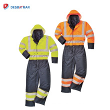 Class 3 Waterproof Hi Vis Safety Coverall , Lined Quilted Various Colours Workwear with Reflective Tapes Winter