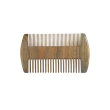 FQ marca al por mayor de madera de sándalo barba peine logotipo personalizado dos lados dientes barba peine portátil barba peine
