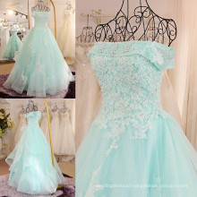 Graceful Off The Shoulder Organza Evening Dresses 2016 Free Shipping Lace Applique Beaded Robe Longue Femme Soiree ML188