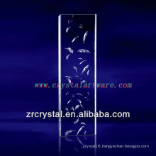 K9 3D Laser Feather Etched Crystal with Pillar Shape