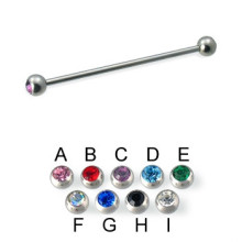 Double Jeweled Ball Long Industrial Barbell