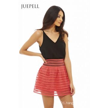 Block Color Women Mini Skirt