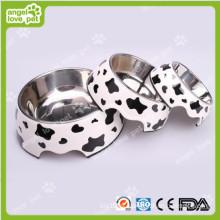 Classical Cow padrão de melamina e aço inoxidável Pet Dog Bowl