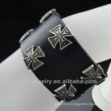 Venta al por mayor Charm cruz encanto pulsera de cuero joyas cristianas BGL-008