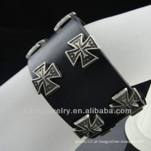 Atacado Cruz Charm pulseira de couro genuíno jóias cristão BGL-008