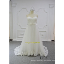 Sweet Heart A Line Empire Elegant Ivory Lace OEM Wedding Gown Bridal Dress