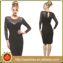 JQ02 Black Bling Bling Column Woman Party Gown Knee Length Sheath Dress Mother of Bride Long Sleeve