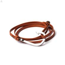 Envoltório de dupla camada PU Leather Anchor Hook Bracelet
