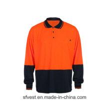 Kundenspezifische hohe Sichtbarkeit Sicherheits-reflektierende lange Hülsen-Aufbau-Polo-Hemd