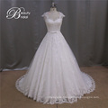 2016 Newest Cap Sleeve Sheer Back A Line Lace Bridal Wedding Dress