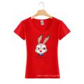 Custom Cartoon Printing Round Neck Cotton Fashion Women T Shirt