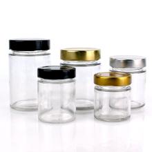 Stocked 100ml 165ml 220ml 335ml 400ml 580ml Food grade jam honey jelly glass storage jar metal airtight lid