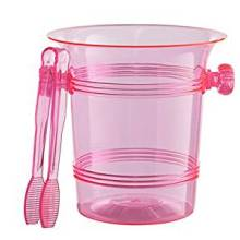 Plastic pink ice bucket with scoop