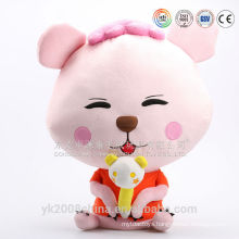 Cute pink lifelike plush big eyes cat toys