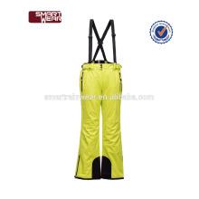 Пользовательские 100% полиэстер эластичный пояс высокое качество дышащий ветрозащитный водонепроницаемый зимние лыжные брюки утепленные прогрева
