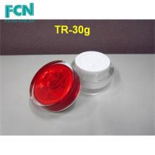 Bouteille en acrylique de haute qualité ronde pour soins de la peau rouge petit pot de crème cosmétiques 1 oz
