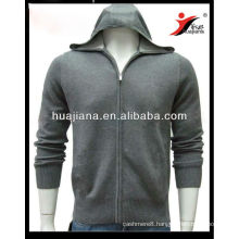 Luxury men's Cashmere sweater hoodie full zip
