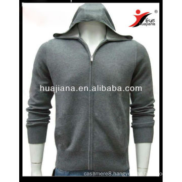 Luxury men's Cashmere sweater hoodie full zip