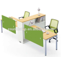 Office T shape workstation for two persons peach wood and warm white upholstery, Pro office furniture factory (JO-4048-2)