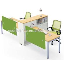 Oficina de trabajo en forma de T para dos personas de madera de melocotón y tapicería blanca cálida, Pro fábrica de muebles de oficina (JO-4048-2)