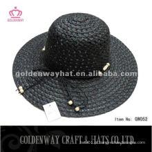 Lady Fashion Hat GW052 black paper beach sun hats 2014