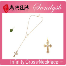 Infinity Jewelry Golden Cross Necklace Sideways Fashion Infinity Necklace