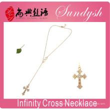 Бесконечность Ювелирные Изделия Золотой Крест Ожерелье Боком Мода Бесконечность Ожерелье