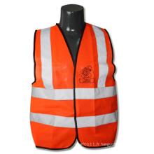 ANSI / Isea En471 Gilet de sécurité de circulation réfléchissant orange haute visibilité (YKY2822)