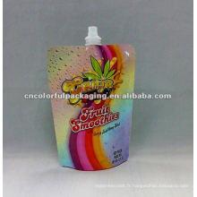 Sacs de boissons énergisantes imprimés personnalisés avec bec verseur