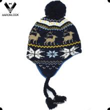 Inverno Moda Jacquard Crianças Earflap Hat