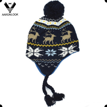 Winter Fashion Jacquard Children Earflap Hat