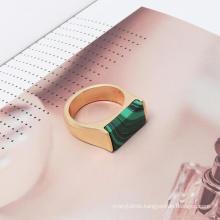 Textured Alloy Electroplating Inlaid Natural Stone Ring Rectangular Blue Green Turquoise Malachite Ring