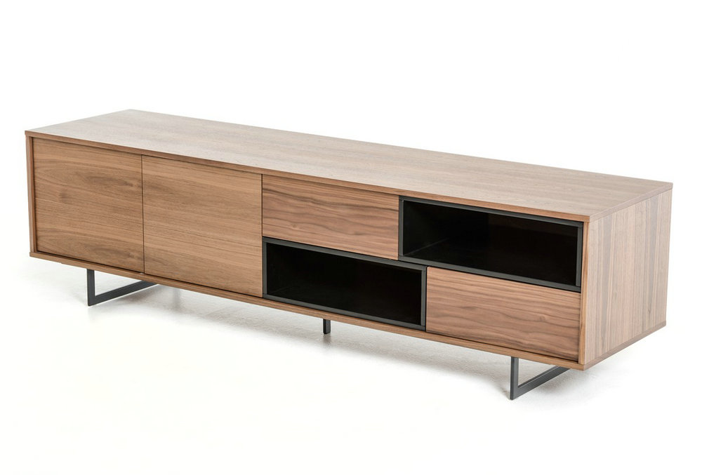 Modern walnut wood TV stand