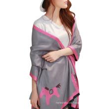 Las mujeres más nuevas del diseño otoño invierno cálido impresa caballo bufanda del chal animal