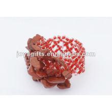 Pedra vermelha Pedra pedra Stretch Seed Anel de contas de vidro