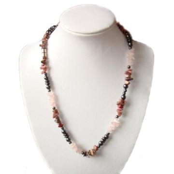 Rose quartz Hematite Gemstone Chip Necklace