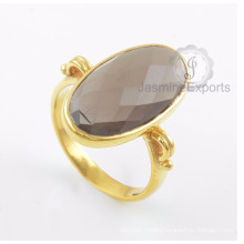 Smoky Quartz Gemstone Ring, 18k Gold Ring Wholesale Supplier Jewelry