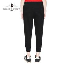 Pantalones Skinny Elastic Waist Yoga Leggings Solid Negro