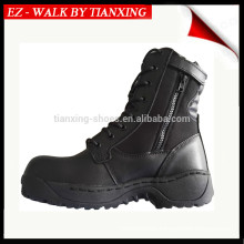 Black combat leather boots