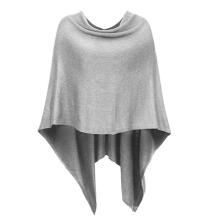 PK18A05HX Frauen Solid Knit Asymmetrische Warp Poncho