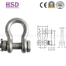 Us Type Forged G2130 Bow Shackle with Safety Pin and Nut, G209, G210, G2150, Anchor Shackle, Rigging Hardware, Marine Hardware, Stainless Steel Shackles