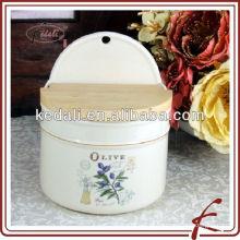 Frascos de cerâmica de armazenamento de coleção de azeitona com tampas